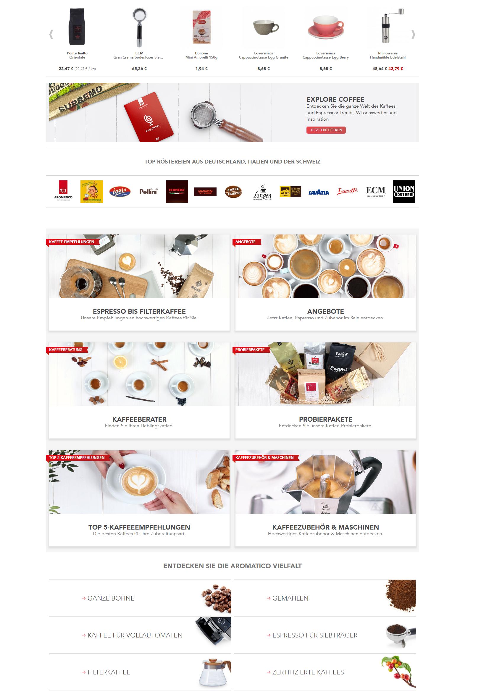 Premium Kaffee & Espresso im Online Shop von Aroma